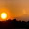 夕陽の花粉光環と富士山